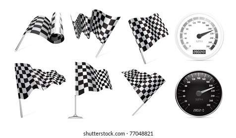 Checkered Flags set with speedometer illustration on white background.