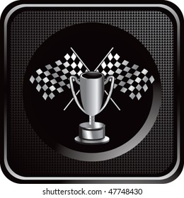 checkered flags and trophy black web button