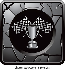 checkered flags and trophy gray cracked web icon
