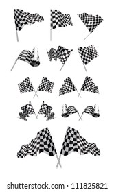 Checkered Flags Vector set illustration on white background.