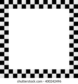 Checkered frame, border. Empty squarish picture, photo frame with squares for racing or generic use