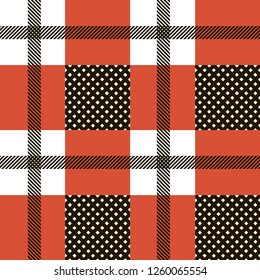 Checkered gingham plaid fabric seamless pattern in blue white and red, vector print