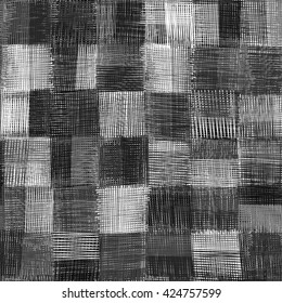 Checkered grunge striped guilt seamless pattern in black and white colors