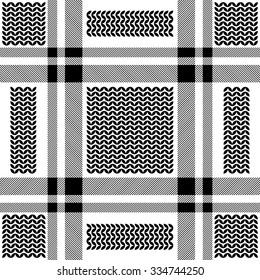 Checkered keffiyeh vector seamless pattern with floral motif. Traditional Middle Eastern headdress. Black and white. Backgrounds & textures shop.