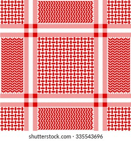 Checkered keffiyeh vector seamless pattern with floral and geometric motif. Traditional Middle Eastern headdress. Red and white. Backgrounds & textures shop.