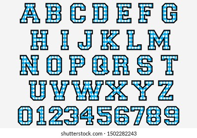 Checkered letter font and number