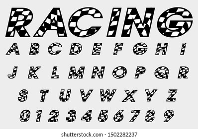 Checkered letter font and number, Speed racing font design decoration.
