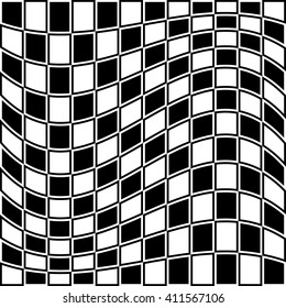 Checkered pattern with distortion effect. Opposite color border on squares.