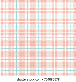 Checkered pattern of small squares seamless background, pink and white, vector. Pink squares, and cyan thin lines on a white field. Geometric, colored background.