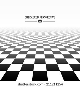 Checkered perspective background. Vector.