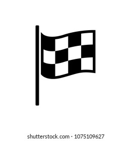 Checkered racing flag icon. Starting flag auto and moto racing. Sport car competition victory sign. Finishing winner rally illustration. Black and white color.