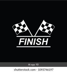 Checkered racing flag icon. Starting flag auto and moto racing. Sport car competition victory sign. Finishing winner rally illustration. Chequered racing flag on flagstaff. Black and white flag.