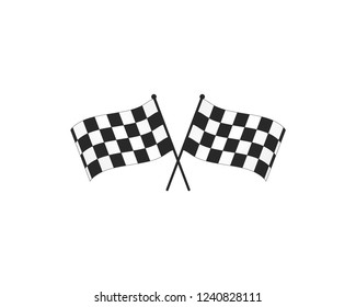 Checkered racing flag icon.Checkered flag vector illustration on white transparent background