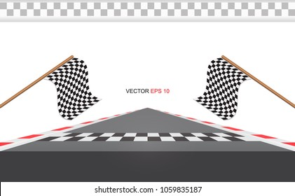 Checkered Racing flag isolated on white. Road for Race. Checkered Racing flag on road. Tape red and white.