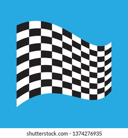 Checkered Racing flag isolated on blue