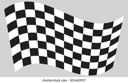 Checkered racing flag. Symbolic design of end of car race. Black and white background. Checkered flag waving on gray background, vector