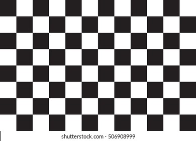 Checkered racing flag. Symbolic design of end of car race. Black and white background. Checkered flag in correct size and colors, vector illustration