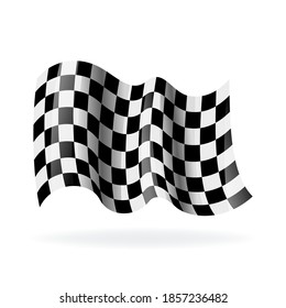 Checkered racing waving flag. Modern illustration. Wavy black and white flags. Flags for auto racing and motorcycle racing on white backdrop with shadow.