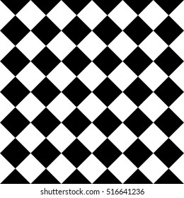 Checkered seamless background pattern of squares in diagonal arrangement. Black and white chess desk theme. Simple flat geometric and abstract vector illustration.