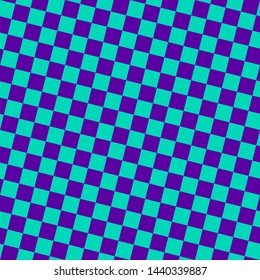 Checkered seamless pattern. Bright colorful vector geometric texture with small diagonal squares, repeat tiles. Abstract purple and turquoise chequered background. Simple minimal decorative design
