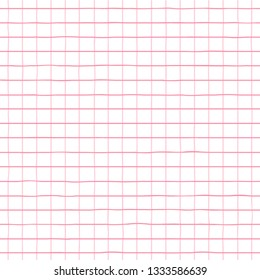 Checkered seamless pattern. Geometrical hand drawn checkered lines seamless background in pink color.