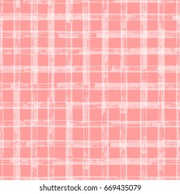 Checkered Seamless pattern. Pink vector background with paint Grunge stroke stripes