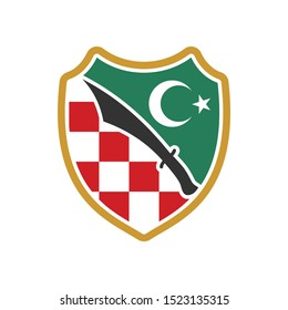Checkered Shield, Black Sword, and Crescent Star. Croatia Red Square Icon.