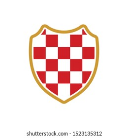 Checkered Shield. Croatia Red Square Icon.