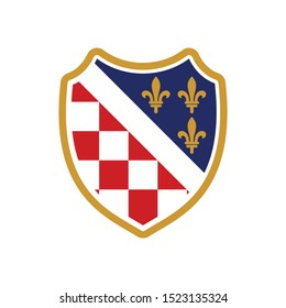 Checkered Shield and Fleur de Lis Symbol. Red Square Icon. Croatia. Vector Illustration.