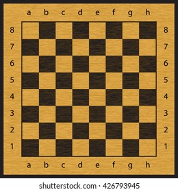 Checkered simple brown and black wooden chessboard seamless vector pattern, chess wood board background with cracks, numbers and letters
