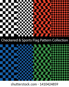 Checkered and Sports Flag pattern collection. Set of monochrome, orange, blue and green color checkerboards.