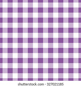 Checkered tablecloth, white and purple flowers - seamless texture for background. color illustrations