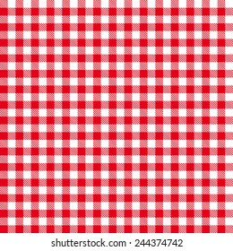 Checkered tablecloths pattern - endless - red