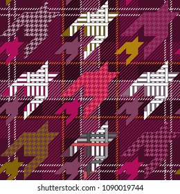 Checkered textile print with hounds tooth motifs. Colorful seamless pattern with different geometric elemets. Purple, pink.