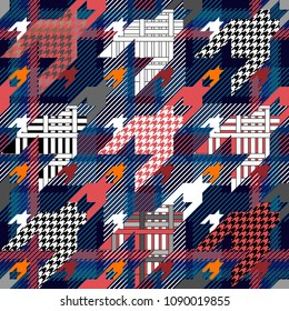 Checkered textile print with hounds tooth motifs. Colorful seamless pattern with different geometric elemets. Blue, red.