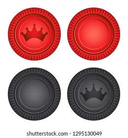 Checkers Board Game Pieces Vector Illustration Icon