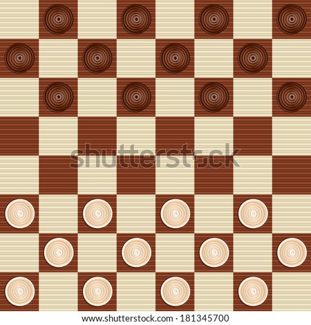 Checkers Draughts Traditional Board Game Pieces Stock Vector