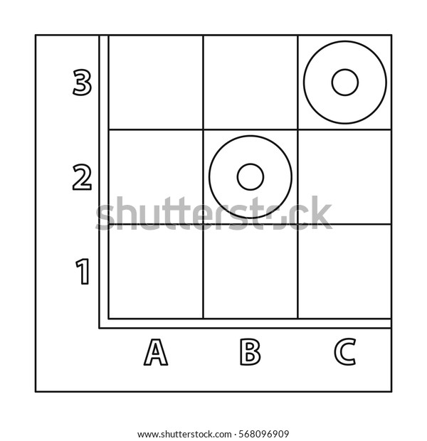 Checkers icon in outline style isolated on white background. Board games symbol stock vector illustration.