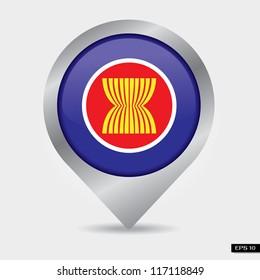 Check-in flag ASEAN Economic Community: AEC 2015, isolated