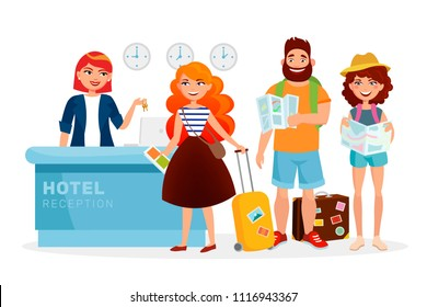 Check-in hotel reception desk modern illustration with cartoon people, tourists. Smiling woman Receptionist meets guests and gives keys cartoon characters isolated on white background.