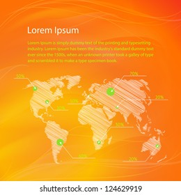 Checkin on The World Map, infographics. Vector Illustration, eps 10, contains transparencies