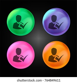 Checking attendance crystal ball design icon in green - blue - pink and orange.