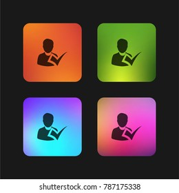 Checking attendance four color gradient app icon design