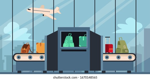 Checking baggage and luggage at the airport before traveling, security control at the departure terminal. Baggage tape with scanner and Xray, flat vector illustration with airplane and luggage.