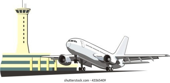 checking the boarding of the plane with  towers