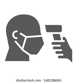Checking body temperature glyph icon, coronavirus and covid 19, temperature scaning sign, vector graphics, a solid pattern on a white background, eps 10
