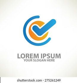 Checking logo template design on clean background,vector