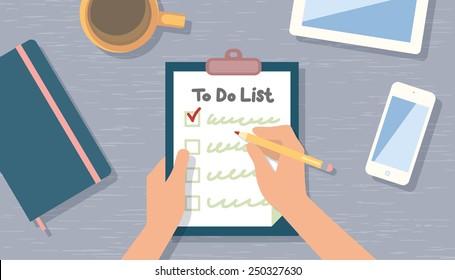 Überprüfen Sie die Liste durchzuführen. Draufsicht
