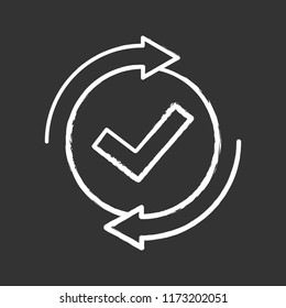Checking process chalk icon. Successfully checked. Approved. Testing. Checkmark. Check mark with circle arrows. Verification and validation. Isolated vector chalkboard illustration