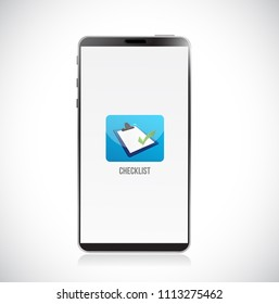 checklist app icon on smartphone. Vector Illustration. isolated over white